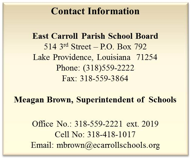 Contact information for East Carroll Parish School Board
