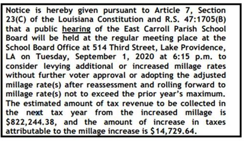 Amended Notice of Millage